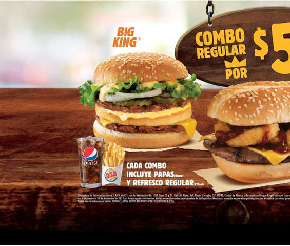 Ofertas de Burger King, Combo regular