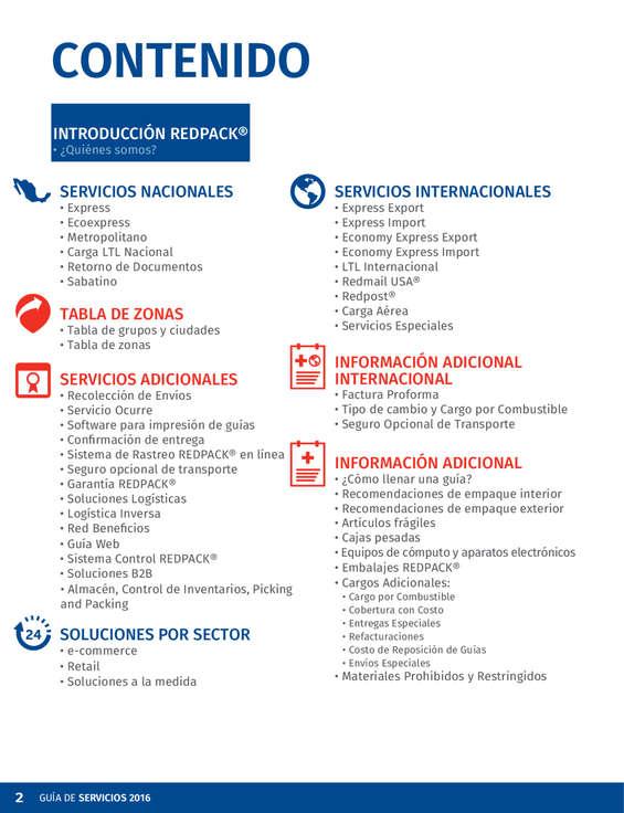 Ofertas de Redpack, Guía de servicios