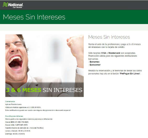 Ofertas de National Car Rental, Meses sin intereses