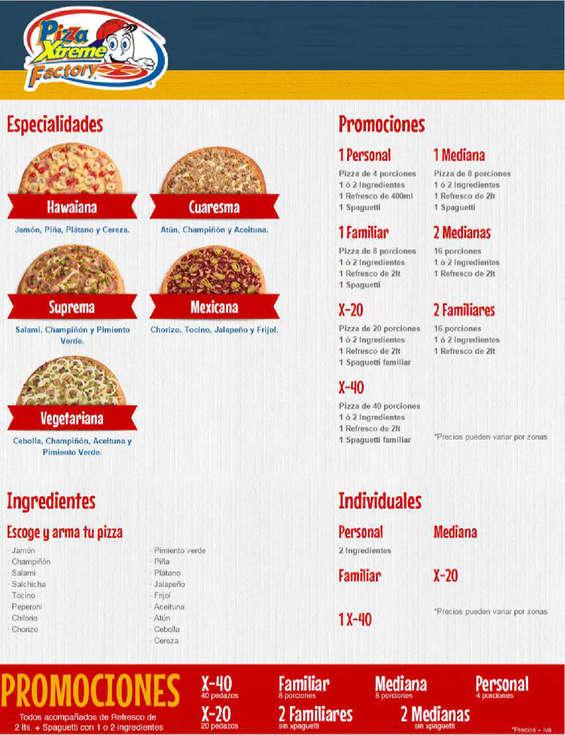 Ofertas de Pizza Xtreme Factory, Menú - Promociones