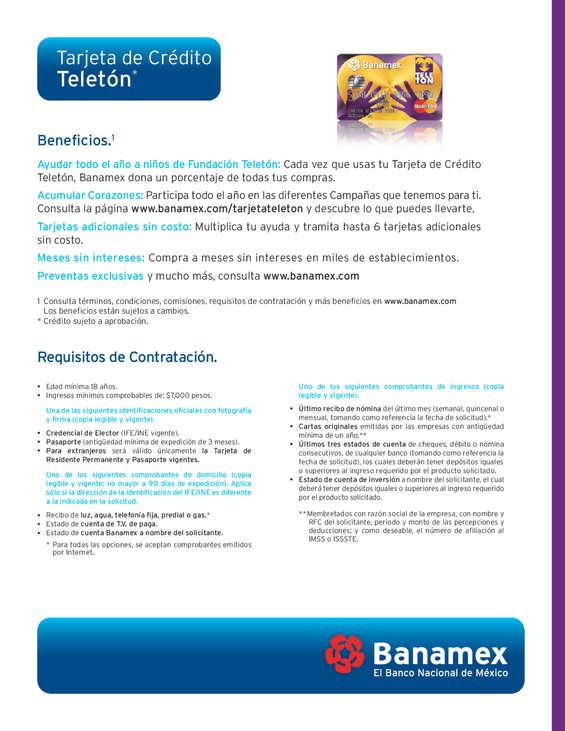 Ofertas de Citibanamex, Tarjeta Teleton