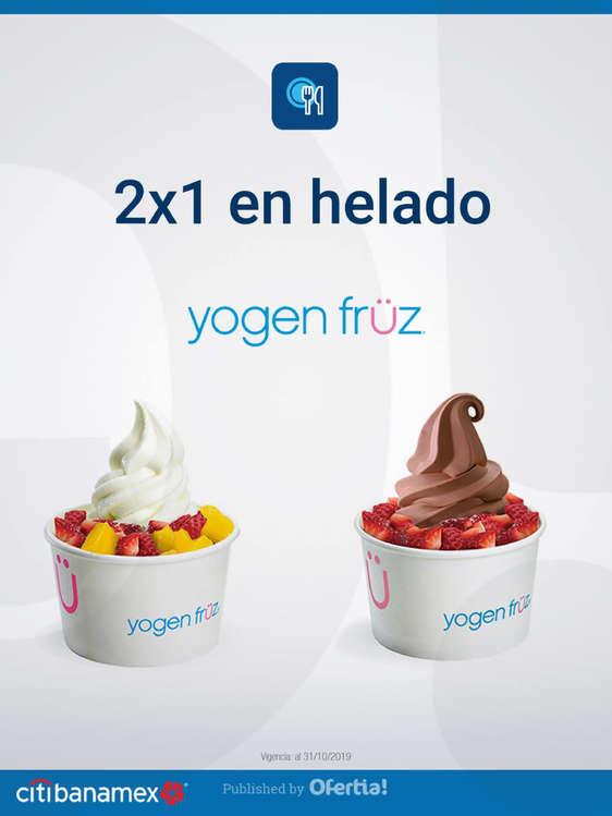 Ofertas de Citibanamex, 2x1 en helado Yogen Früz