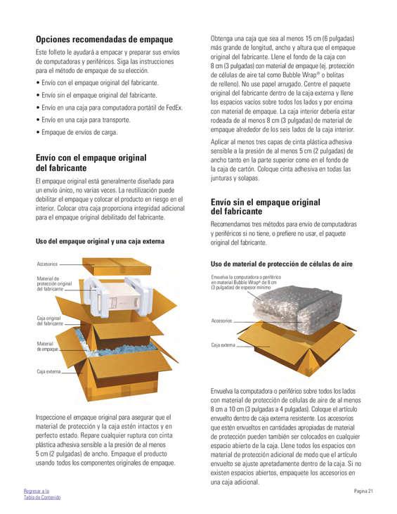 Ofertas de Fedex, Guía de empaque