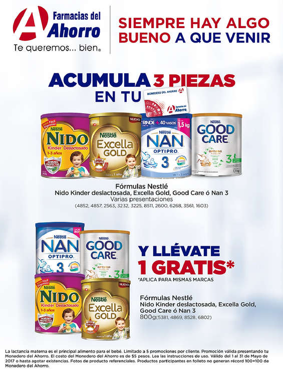 Ofertas de Farmacias del Ahorro, Plan de lealtad / Fórmulas Nestle
