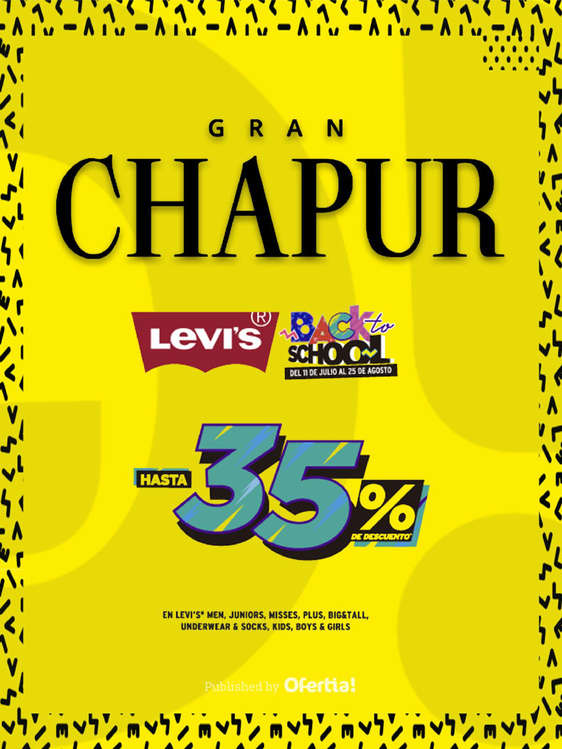 Ofertas de Chapur, Levi's hasta 35% de descuento - Back to School