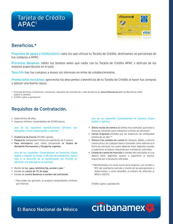 Ofertas de Citibanamex, Tarjeta de crédito APAC