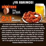 Ofertas de Hooters, Plaza La Rosa 2x1 en cerveza