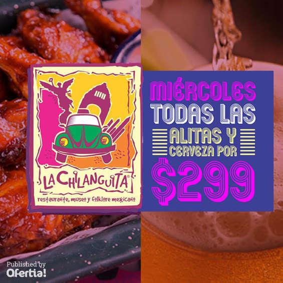 Ofertas de La Chilanguita, Miércoles todas las alitas y cerveza por $299