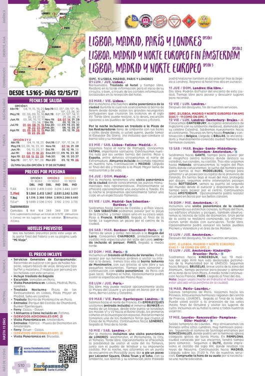 Ofertas de Europamundo, Circuitos europeos hasta 15 2019