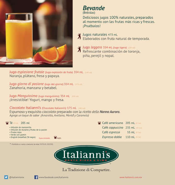 Ofertas de Italianni's, Desayunos