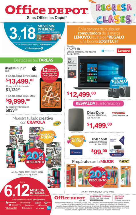 Ofertas de Office Depot, Regresa a clases
